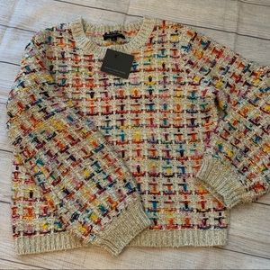 New Andrew Marc Large Ivory & Colorful Sweater